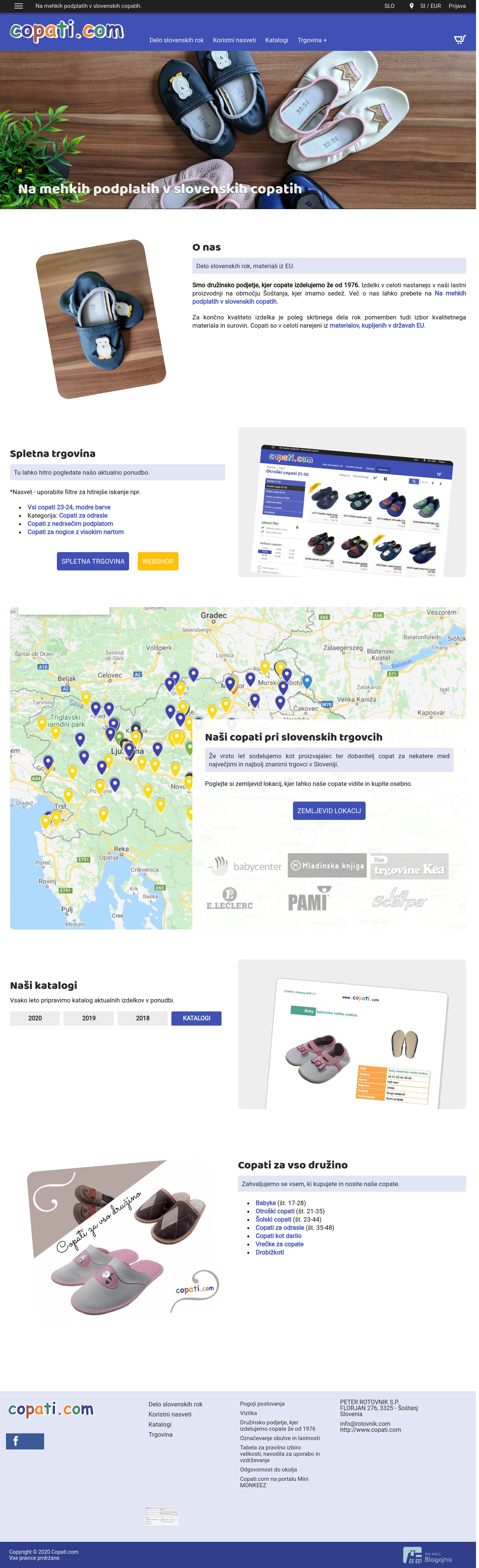 Prenova prve strani B2B/B2C spletne trgovine copati.com