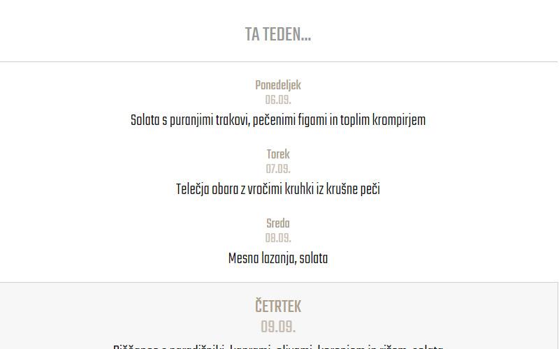 Prikaz dnevnih menujev na spletni strani