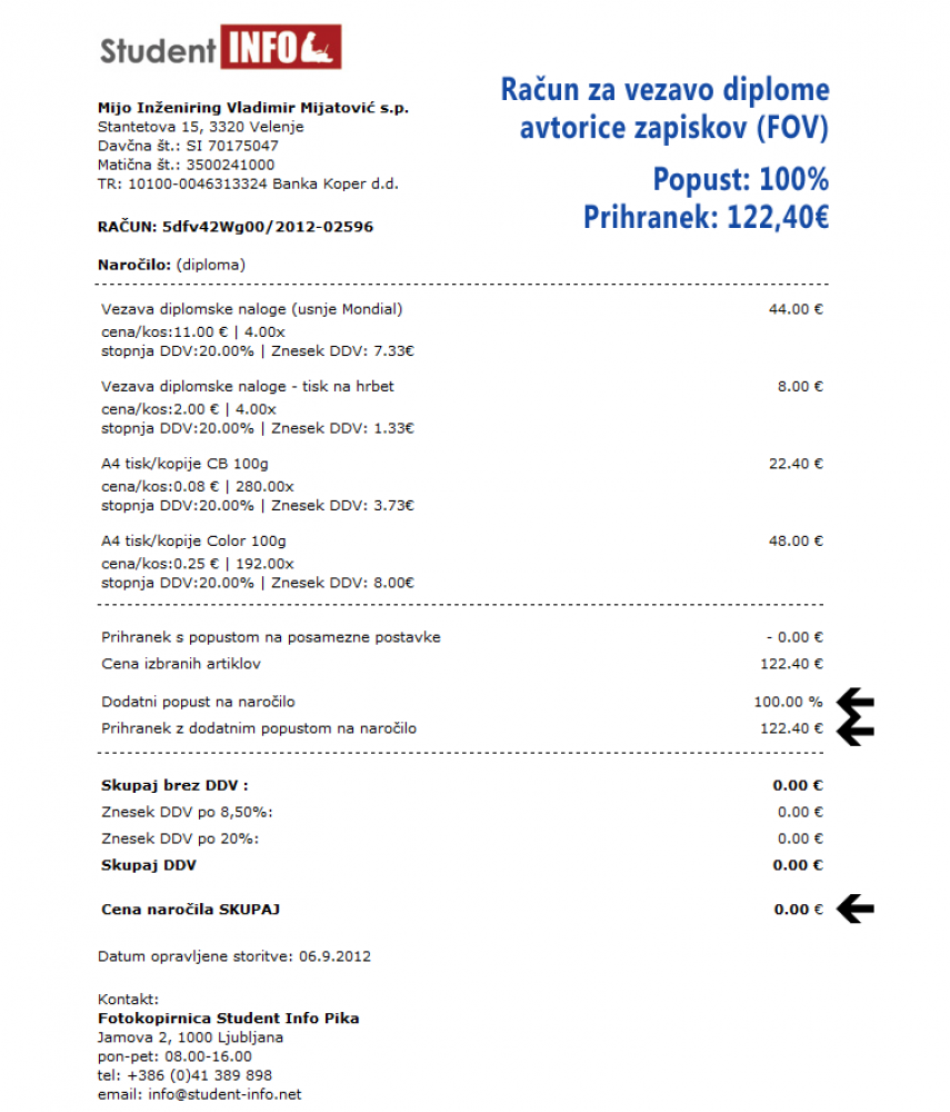 100% popust na vezav diplome oz. 122€ prihranka!
