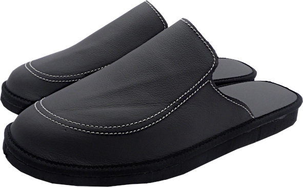 55129 Leather slippers with heel