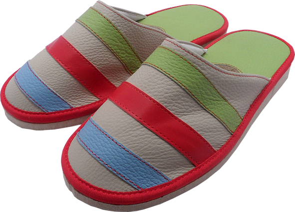 0044 Slippers with stripes