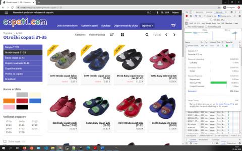 Uvodna stran Spletne trgovine Copati.com;  NOT CACHED; TTFB: 153.05ms